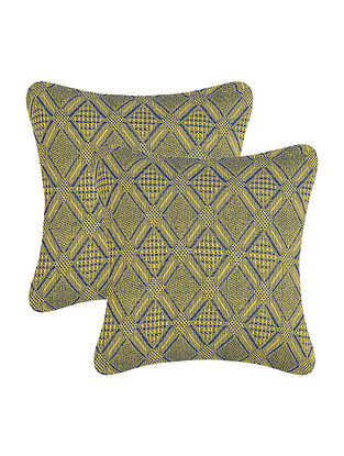 Multicolored Cotton Cushion Cover (Set of 2) (12in x 12in)