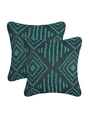 Blue Cotton Cushion Cover (Set of 2) (12in x 12in)
