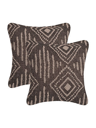 Brown-Beige Cotton Cushion Cover (Set of 2) (12in x 12in)