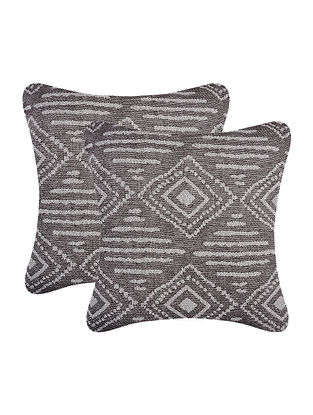 Grey Cotton Cushion Cover (Set of 2) (16in x 16in)