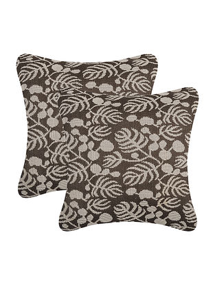 Brown-Beige Cotton Cushion Cover (Set of 2) (16in x 15in)
