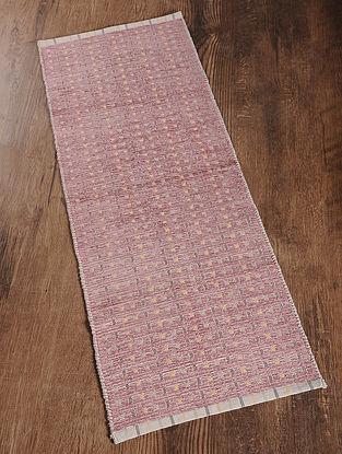 Pink Handwoven Cotton Corridor Dhurrie (1.6ft x 3.8ft)