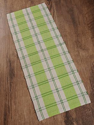 Green Handwoven Cotton Corridor Dhurrie (1.6ft x 3.8ft)