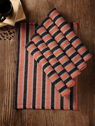 Orange-Black Handwoven Cotton Table Mat (Set of 6) (18.5in x 13in)