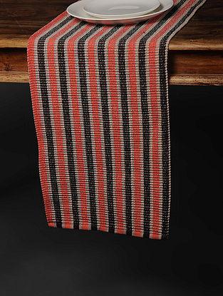 Orange-Black Handwoven Cotton Table Runner (71in x 13in)