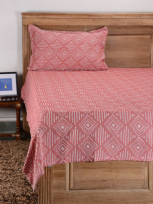 Red Cotton Single Bed Cover with Pillow Cover (Set of 2)