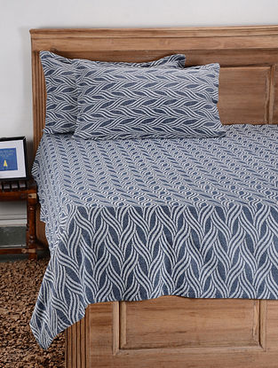 Blue Cotton Double Bed Cover with Pillow Covers (Set of 3)