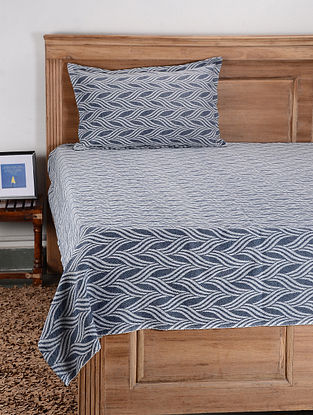 Blue Cotton Single Bed Cover with Pillow Cover (Set of 2)