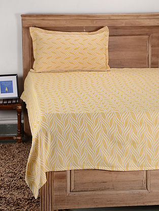 Yellow Cotton Single Bed Cover with Pillow Cover (Set of 2)