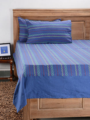 Blue Cotton Double Bed Cover with Pillow Cover (Set of 3)