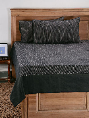 Black Cotton Double Bed Cover with Pillow Cover (Set of 3)