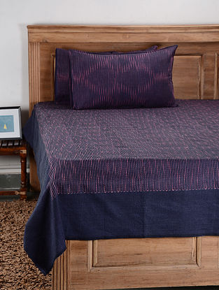 Purple Cotton Double Bed Cover with Pillow Cover (Set of 3)