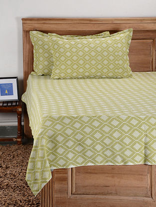 Green Cotton Double Bed Cover with Pillow Cover (Set of 3)