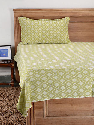 Green Cotton Single Bed Cover with Pillow Cover (Set of 2)