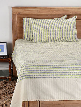 Green Cotton Jacquard Double Bed Cover with Pillow Cover (Set of 3)