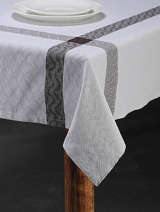 White Cotton Woven Table Cover (91in x 60in)