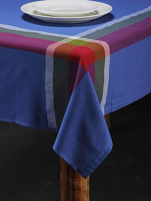 Blue Cotton Woven Table Cover (60in x 58in)