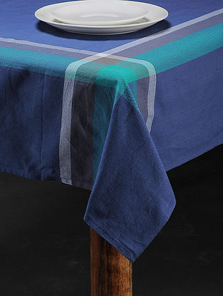 Blue Cotton Woven Table Cover (88in x 59in)