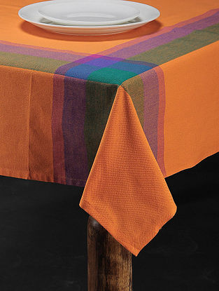 Orange Cotton Woven Table Cover (88in x 59in)