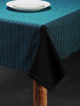 Blue Cotton Woven Table Cover (90in x 59in)