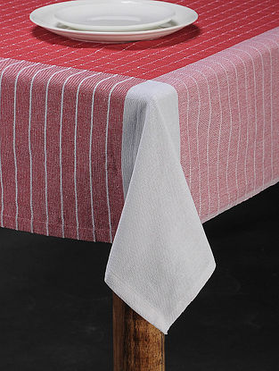 Red Cotton Woven Table Cover (91in x 60in)