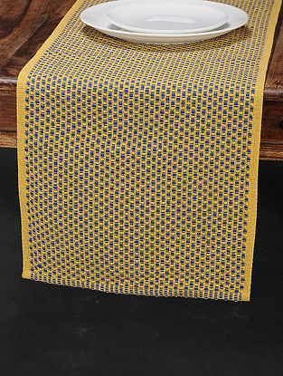 Yellow Cotton Woven Table Runner (70in x 13in)