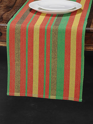 Red Cotton Woven Table Runner (71in x 13.5in)