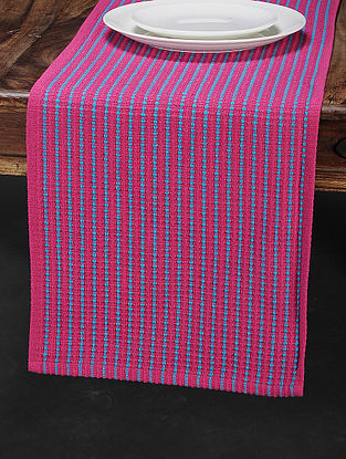 Pink Cotton Woven Table Runner (71in x 13in)