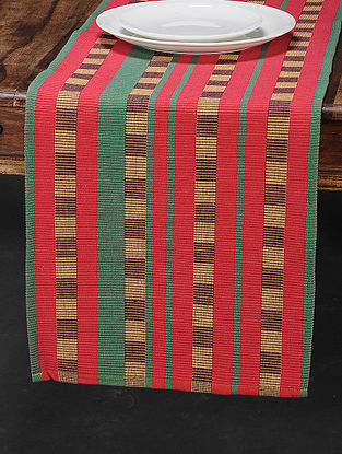 Maroon Cotton Woven Table Runner (71in x 13in)