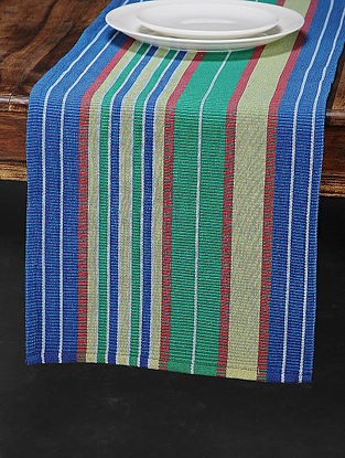 Green Cotton Woven Table Runner (72in x 13in)