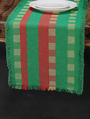 Green Cotton Woven Table Runner (70in x 13.5in)