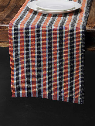 Orange Cotton Woven Table Runner (73in x 13in)