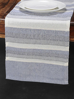 Blue Cotton Woven Table Runner (70in x 13in)
