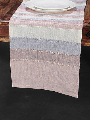 Pink Cotton Woven Table Runner (70in x 13in)