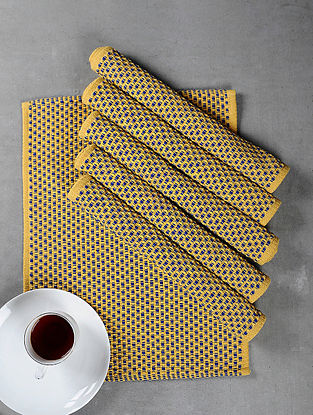 Yellow Cotton Woven Table Mat (Set of 6)