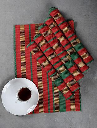 Maroon Cotton Woven Table Mat (Set of 6)