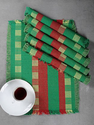 Green Cotton Woven Table Mat (Set of 6)