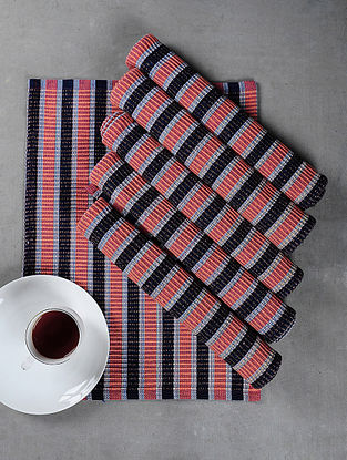 Red Cotton Woven Table Mat (Set of 6)