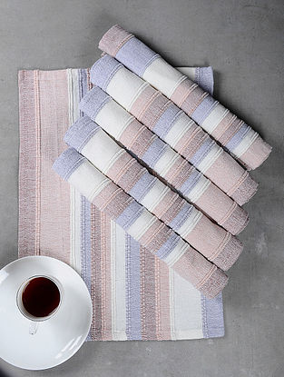 Pink Cotton Woven Table Mat (Set of 6)