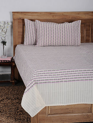 Pink Cotton Jacquard Double Bed Cover with Pillow Cover (Set of 3)