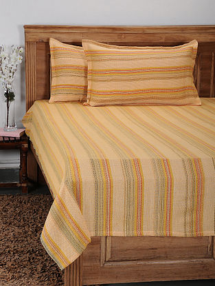 Yellow Cotton Jacquard Double Bed Cover with Pillow Cover (Set of 3)