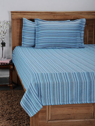 Blue Cotton Jacquard Double Bed Cover with Pillow Cover (Set of 3)