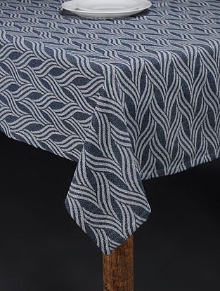 Blue Woven Cotton Table Cover (61in x 61in)