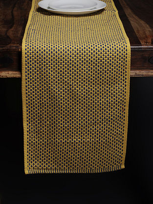 Yellow Woven Cotton Table Runner (69in x 13in)
