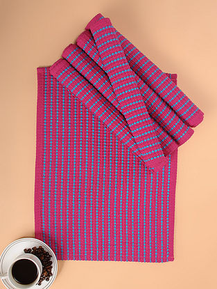 Pink Woven Cotton Table Mats (Set of 6) (18in x 13in)