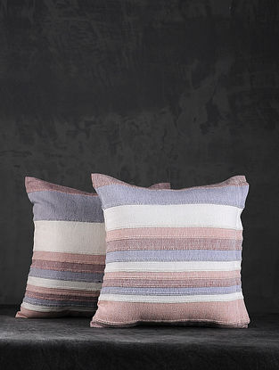 Pink Hand Woven Cotton Cushion Cover (Set of 5) (14in X 14in)