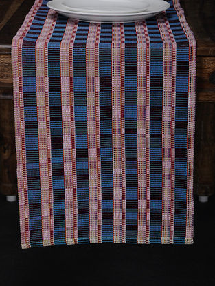 Blue Hand Woven Cotton Table Runner (74in X 13in)