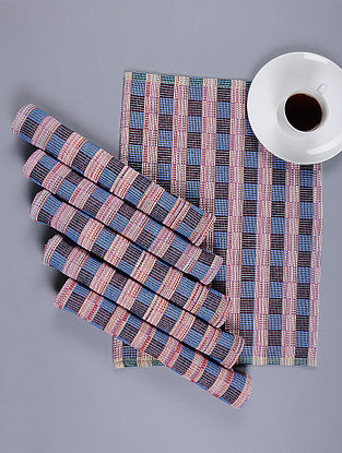 Blue Hand Woven Cotton Table Mat (Set of 6) (18.5in X 13in)