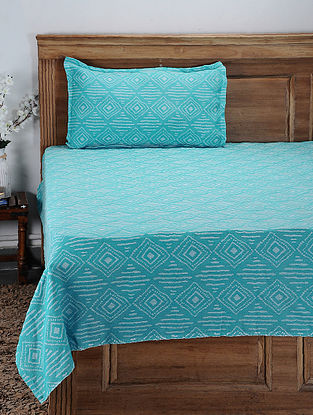 Blue Hand Woven Cotton Single Bed Cover With Pillow Covers (Set of 2) (Set of 2)