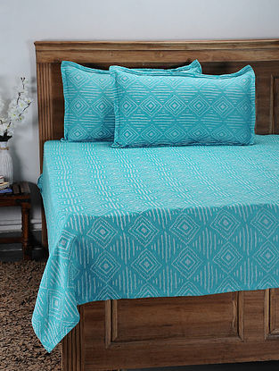 Blue Hand Woven Cotton Double Bed Cover With Pillow Covers (Set of 2) (Set of 3)